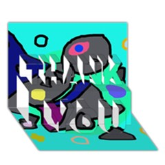 Blue comic abstract THANK YOU 3D Greeting Card (7x5)