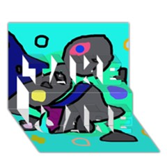 Blue comic abstract TAKE CARE 3D Greeting Card (7x5)