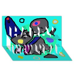 Blue comic abstract Happy New Year 3D Greeting Card (8x4)