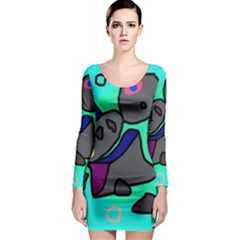 Blue comic abstract Long Sleeve Bodycon Dress