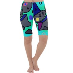 Blue comic abstract Cropped Leggings