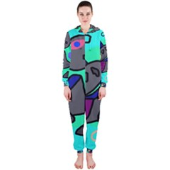 Blue comic abstract Hooded Jumpsuit (Ladies)