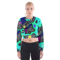 Blue comic abstract Women s Cropped Sweatshirt