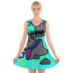 Blue comic abstract V-Neck Sleeveless Skater Dress