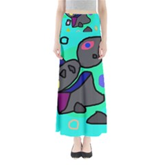 Blue comic abstract Maxi Skirts