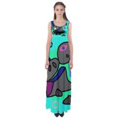 Blue comic abstract Empire Waist Maxi Dress