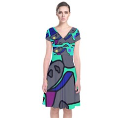 Blue comic abstract Short Sleeve Front Wrap Dress