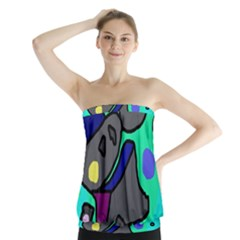 Blue Comic Abstract Strapless Top