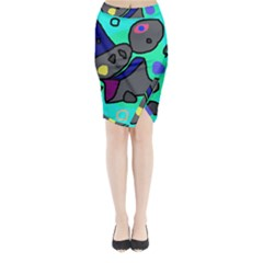 Blue comic abstract Midi Wrap Pencil Skirt