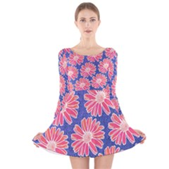 Pink Daisy Pattern Long Sleeve Velvet Skater Dress