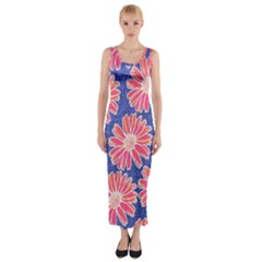 Pink Daisy Pattern Fitted Maxi Dress