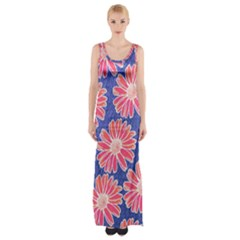 Pink Daisy Pattern Maxi Thigh Split Dress