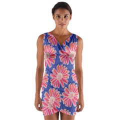 Pink Daisy Pattern Wrap Front Bodycon Dress