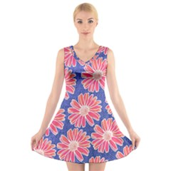 Pink Daisy Pattern V-Neck Sleeveless Dress