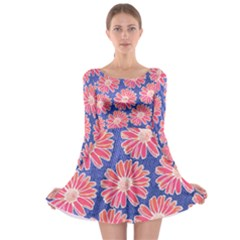 Pink Daisy Pattern Long Sleeve Skater Dress