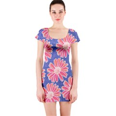 Pink Daisy Pattern Short Sleeve Bodycon Dress
