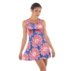 Pink Daisy Pattern Cotton Racerback Dress