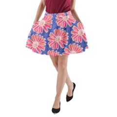 Pink Daisy Pattern A-Line Pocket Skirt