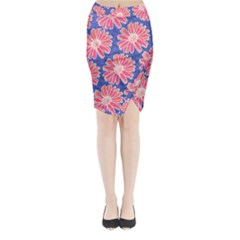 Pink Daisy Pattern Midi Wrap Pencil Skirt