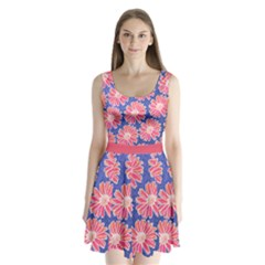 Pink Daisy Pattern Split Back Mini Dress