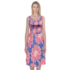 Pink Daisy Pattern Midi Sleeveless Dress
