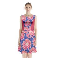 Pink Daisy Pattern Sleeveless Chiffon Waist Tie Dress