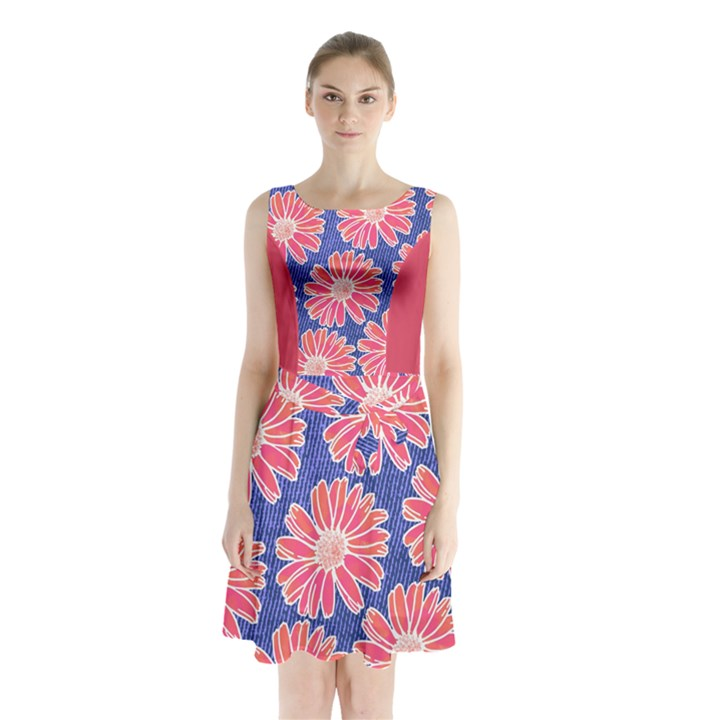 Pink Daisy Pattern Sleeveless Chiffon Waist Tie Dress