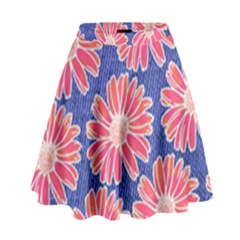 Pink Daisy Pattern High Waist Skirt
