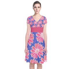 Pink Daisy Pattern Short Sleeve Front Wrap Dress