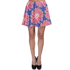 Pink Daisy Pattern Skater Skirt