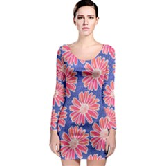 Pink Daisy Pattern Long Sleeve Bodycon Dress