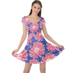 Pink Daisy Pattern Cap Sleeve Dress