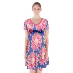 Pink Daisy Pattern Short Sleeve V-neck Flare Dress