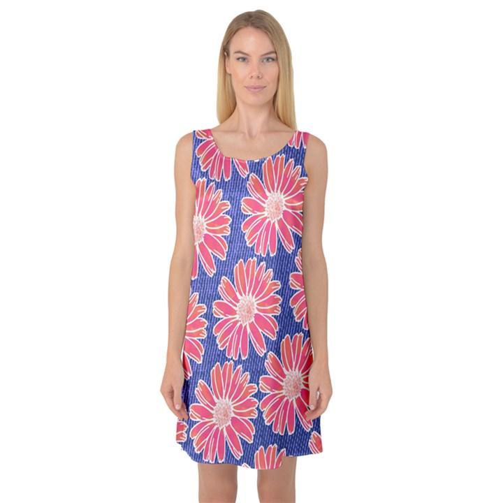 Pink Daisy Pattern Sleeveless Satin Nightdress