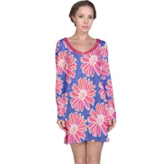 Pink Daisy Pattern Long Sleeve Nightdress