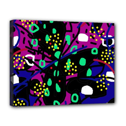Abstract colorful chaos Canvas 14  x 11