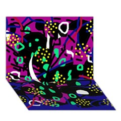 Abstract colorful chaos Apple 3D Greeting Card (7x5)