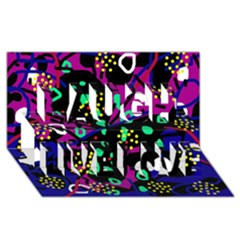 Abstract colorful chaos Laugh Live Love 3D Greeting Card (8x4)
