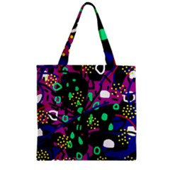 Abstract colorful chaos Zipper Grocery Tote Bag