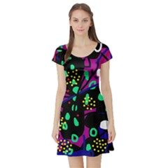 Abstract colorful chaos Short Sleeve Skater Dress
