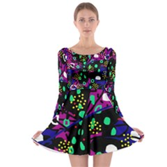 Abstract colorful chaos Long Sleeve Skater Dress