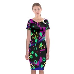 Abstract colorful chaos Classic Short Sleeve Midi Dress
