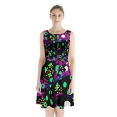 Abstract colorful chaos Sleeveless Waist Tie Dress