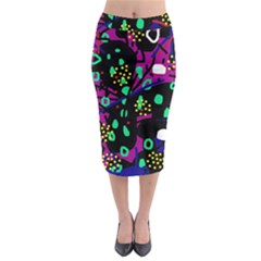 Abstract colorful chaos Midi Pencil Skirt