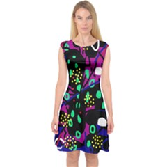 Abstract Colorful Chaos Capsleeve Midi Dress