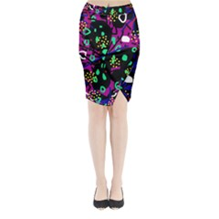 Abstract Colorful Chaos Midi Wrap Pencil Skirt