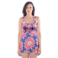 Pink Daisy Pattern Skater Dress Swimsuit
