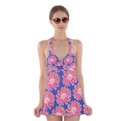 Pink Daisy Pattern Halter Swimsuit Dress