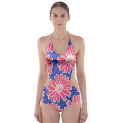 Pink Daisy Pattern Cut-Out One Piece Swimsuit