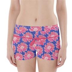 Pink Daisy Pattern Boyleg Bikini Wrap Bottoms